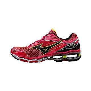 Mizuno Womens Wave Creation 18 Running Shoe, Pink-Black-Safety Yellow, 8.5 B US