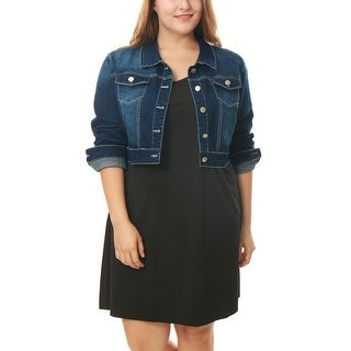 Allegra K Women's Plus Size Denim Jacket