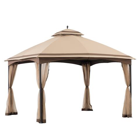 Sunjoy 10.5 ft. x 13 ft. Tan and Brown 2-tier Steel Gazebo