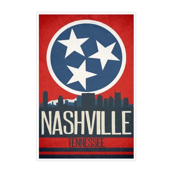 Nashville State Flag Skylines Matte Poster 24x36