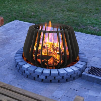 15.7''H x 23.6''W Steel Wood Burning Outdoor Fire pit