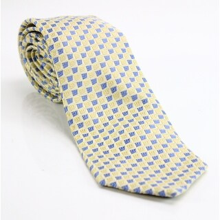 Michael Kors NEW Yellow Blue Geometric Men's Neck Tie Silk Accessory