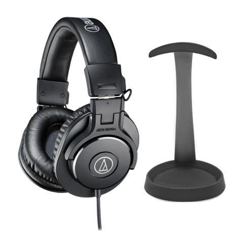 Audio-Technica ATHM30X Headphones (Black) Bundle with Aluminum Stand