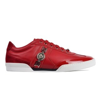 Versace Men's Red Suede Leather Low Top Lace Up Sneakers