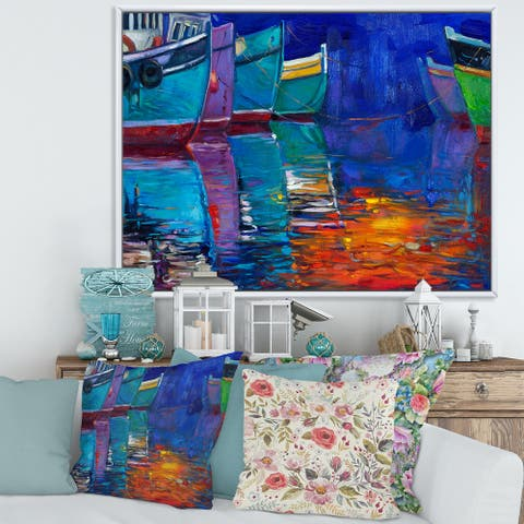 Designart 'Boats Resting on The Water During Warm Sunset I' Nautical & Coastal Framed Canvas Wall Art Print
