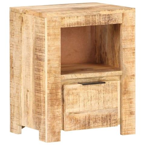 "vidaXL Bedside Cabinet 15.7""x11.8""x19.7"" Rough Mango Wood"