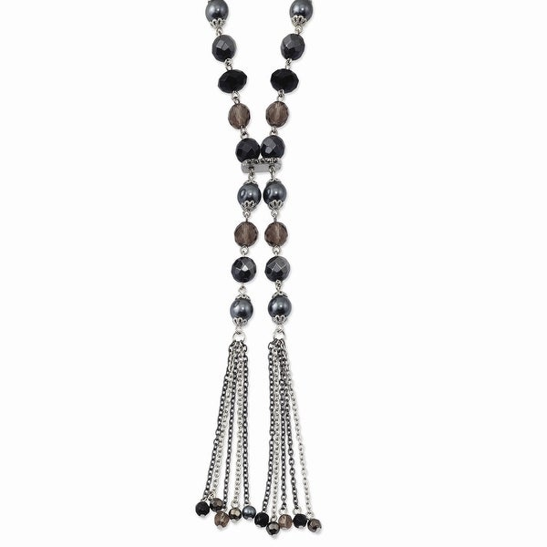 Silvertone Black & Hematite Acrylic Stones & Beads Necklace - 28in