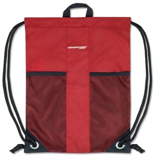 """Adventure Trails Unisex Red Front Mesh Pocket Drawstring Backpack 18""""x 13"""" - One size"""