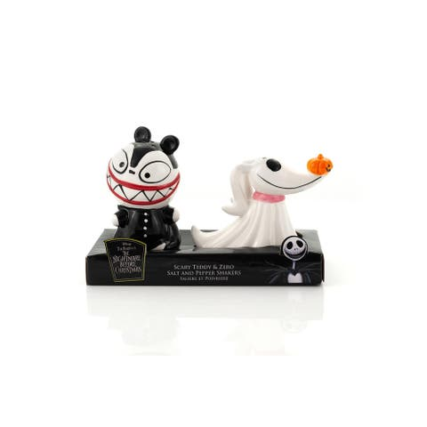 Nightmare Before Christmas Scary Teddy & Zero Ceramic Salt & Pepper Shakers - Black