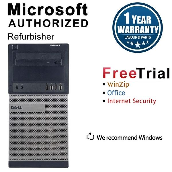 Dell OptiPlex 990 Computer Tower Intel Core I7 2600 3.4G 4GB DDR3 2TB Windows 7 Pro 1 Year Warranty (Refurbished) - Black