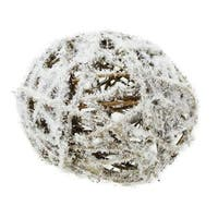 "4"" Country Cabin Frosted White and Brown Twig Weave Ball Christmas Ornament"