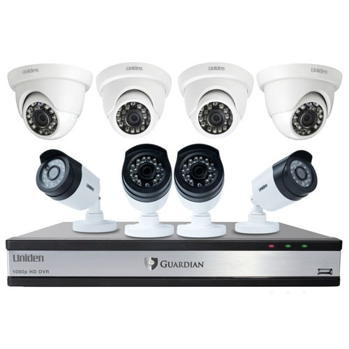 Uniden Guardian G71644D3 Wired Video Surveillance w/ 4 Bullet & 4 Dome Cameras