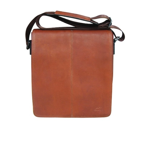 Mancini Polished Leather Colombian Messenger Bag for Tablet - one size