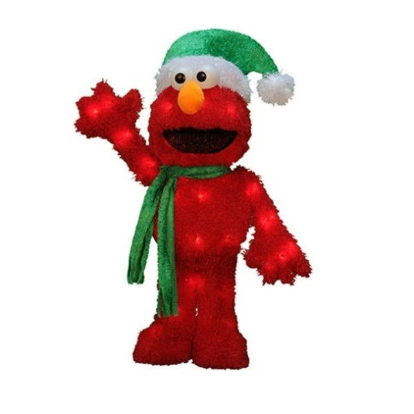 "18"" Pre-Lit 3-D Sesame Street Waving Elmo Christmas Outdoor Decoration - Clear Lights"