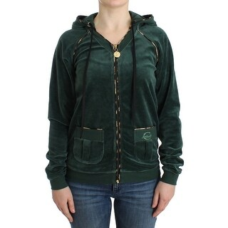 Cavalli Green velvet zipup sweater - it46-xl