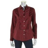 Foxcroft Womens Button-Down Top Striped Fitted