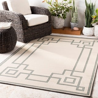 Link to Odette Greek Key Border Indoor/ Outdoor Area Rug Similar Items in Rugs