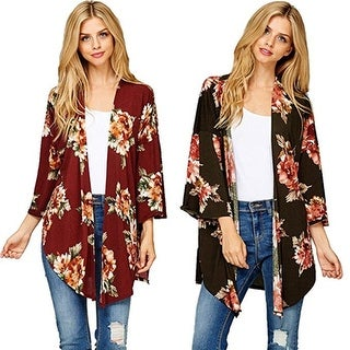 Women's Fall Long Sleeve Floral Print Kimono Cardigan Blouse