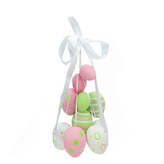 "17"" Pastel Pink, Green and White Floral Striped Spring Easter Egg Cluster Hanging Decoration"
