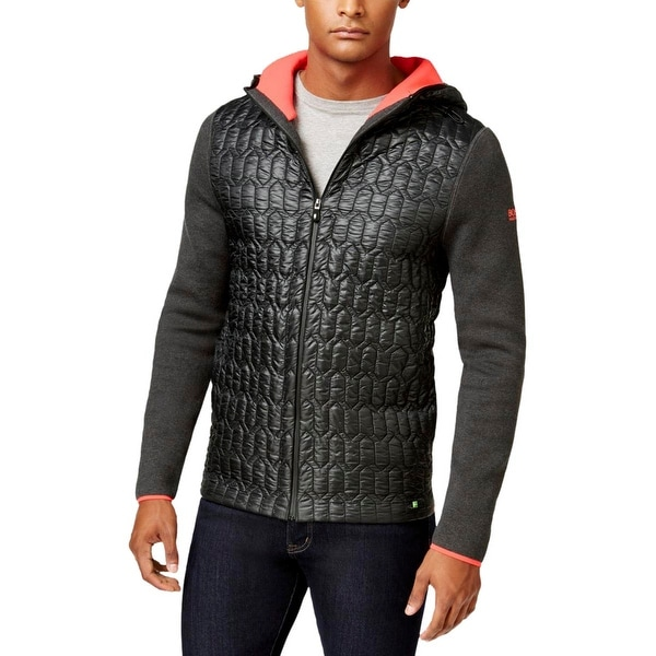 b370324381 Shop BOSS Hugo Boss Mens Track Jacket Quilted Mixed Media - L - Free  Shipping Today - Overstock - 18527525