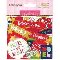Bella Blvd Merry Christmas Cardstock Die-Cuts-Ephemera, Shapes, Tabs & Words W/Foil