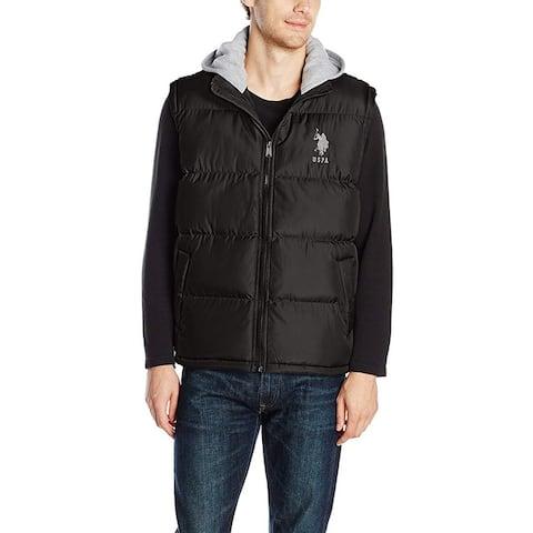 U.S. Polo Assn Men's Basic Zip Front Hooded Vest, Black/Grey, X-Large