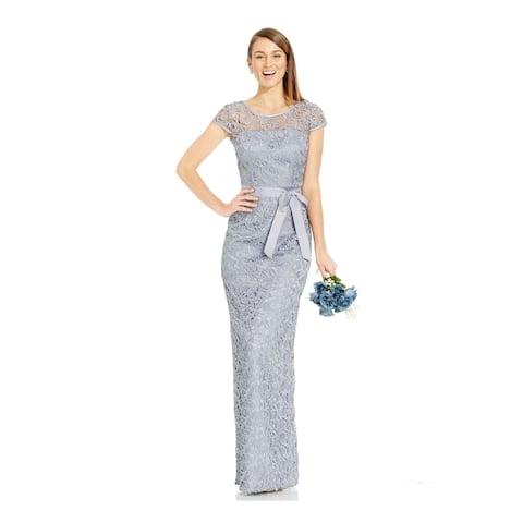 ADRIANNA PAPELL Gray Cap Sleeve Full-Length Dress 4