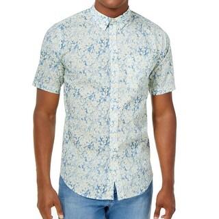 Ezekiel Blue Floral Printed Mens Size Large L Button Down Shirt