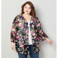 AVENUE Women's  Flounce Sleeve Floral Mesh Kimono - Multi Color