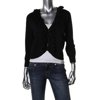 Cable & Gauge Womens Ruffled Knit Cardigan Sweater - XL