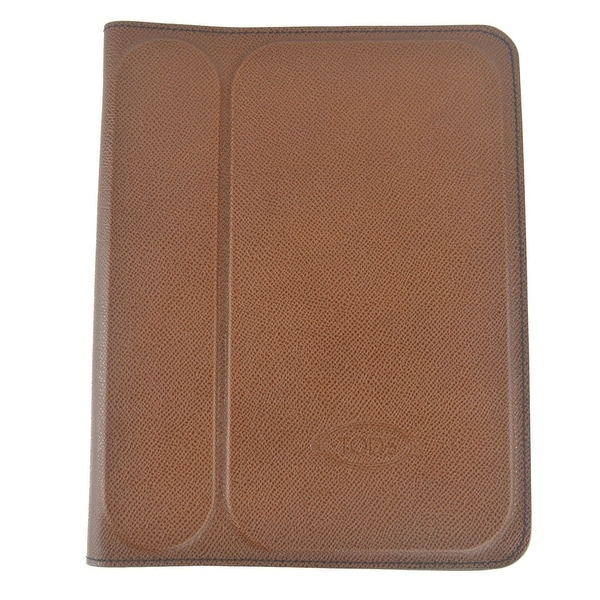 Tods Mens Brown Grained Stamped Leather Ipad 2 Case