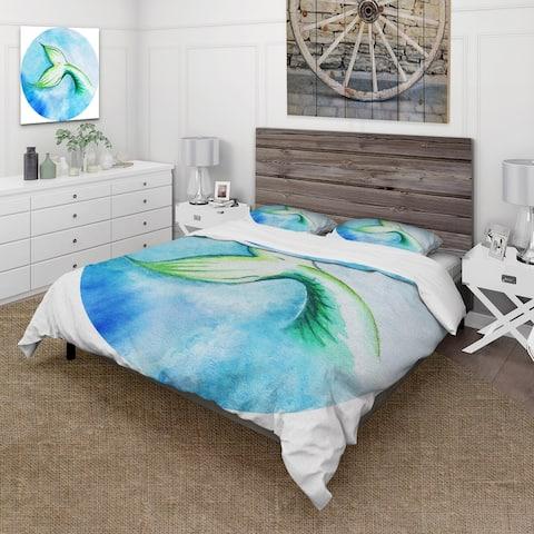 Designart 'Mermaid Fish Tail' Nautical & Coastal Duvet Cover Set