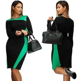 NEW Womens Plus Size Long Sleeve Bodycon Evening Party Formal Cocktail Shift Dress - Color Block Pattern