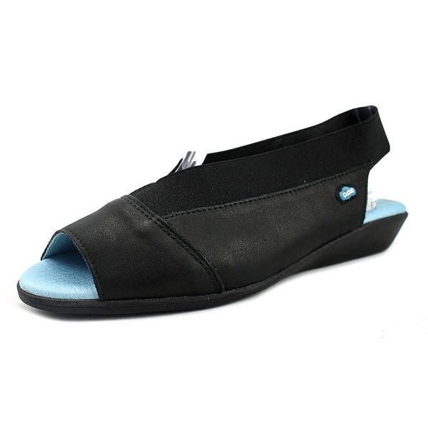 Cloud Footwear Caliber Women Peep-Toe Canvas Black Slingback Heel