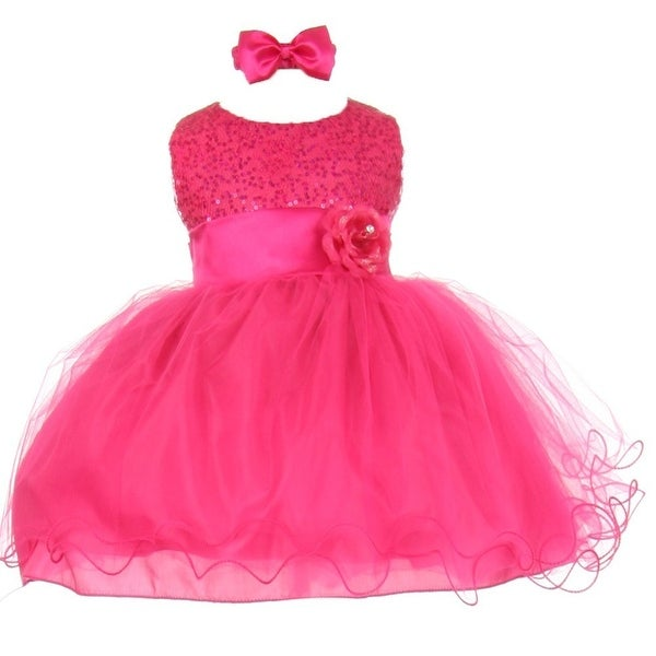 Baby Girls Fuchsia Sequin Tulle Ballerina Flower Girl Headband Dress 6-24M