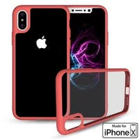 iPhone X Crystal Clear Phone Case Hybrid Shockproof Soft TPU Bumper Cover (Red)