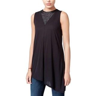 Rachel Roy Womens Casual Top Lace-Inset Asymmetrical