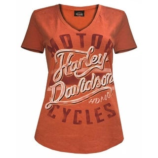 Harley-Davidson Women's Livin in Chrome Relaxed Fit V-Neck Tee, Orange 5L0A-HF6W