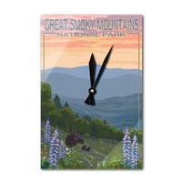 Great Smoky Mountains Bear Spring Flowers - LP Art (Acrylic Wall Clock) - acrylic wall clock