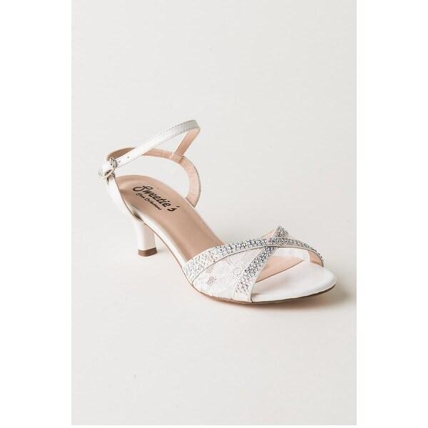 Embellished Lace Low-Heel Sandal
