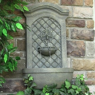 Sunnydaze Rosette Leaf Electric Outdoor Wall Water Fountain - French Limestone