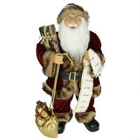 "24"" Woodland Standing Santa Claus Christmas Figure with Name List and Gift Bag - RED"