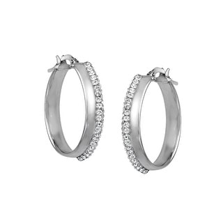 Polished Oval Hoop Earrings with Swarovski Crystal in Sterling Silver - White