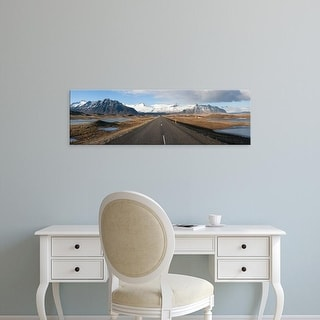 Easy Art Prints Panoramic Images's 'Road with mountains in the background, Iceland' Premium Canvas Art