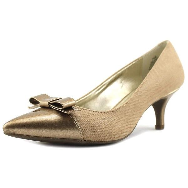 Anne Klein Flouncy Women Pointed Toe Canvas Tan Heels