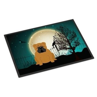 Carolines Treasures BB2312JMAT Halloween Scary English Bulldog Red Indoor or Outdoor Mat 24 x 0.25 x 36 in.