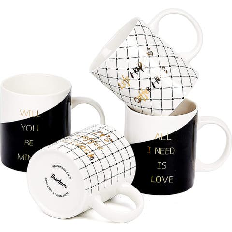 Bruntmor Set Of 4 Ceramic New Bone China Romantic Love Inspirational Coffee/Tea Mug set with gold decal designs, 11 Oz.