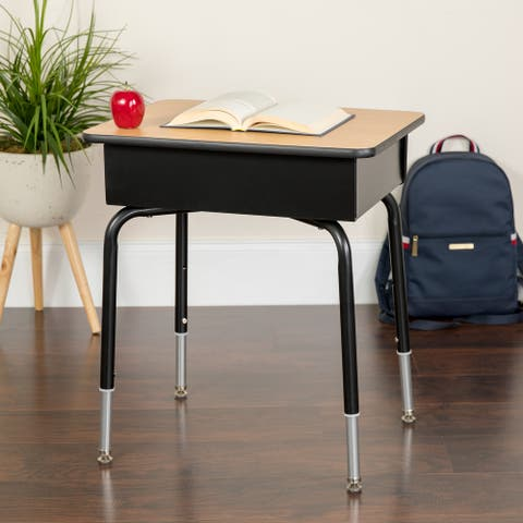 Student Desk with Open Front Metal Book Box - School Furniture - Open Storage