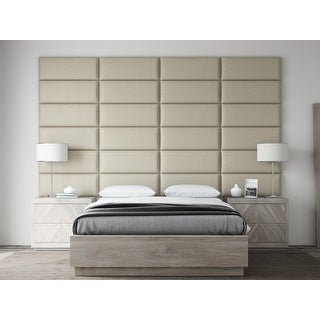 VANT Upholstered Headboards - Accent Wall Panels - Vintage Leather Dusty Taupe - 30 Inch Queen-Full - Set of 4 panels.