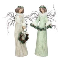 Set of 2 Beige and Mint Green Branch Winged Angels Christmas Table Top Decor 15""